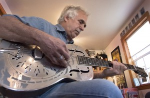 Jerry Zolten strumming some blues riffs on his 1932 National Steel Guitar, the preferred instrument for many of the Paramount recording artists.