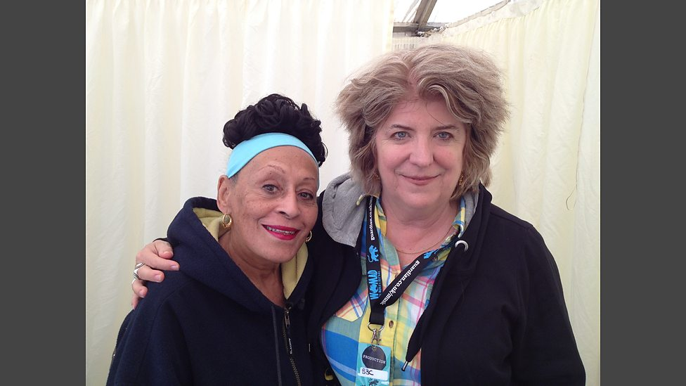 Dr. Lucy Duran with Omara Portuondo, WOMAD 2012