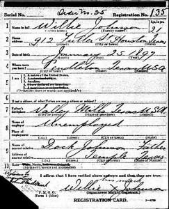 Blind Willie Johnson's 1918 draft card